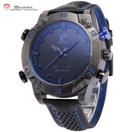 Wholesale Shark Sport Watches - atches Dual Display Wristwatches Kitefin Shark Sport Watch Blue LED Back Light Auto Date Display Leather Strap Quartz Digital Outdoor Men...