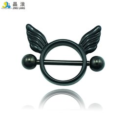 Wholesale Rhinestone Nipples - New! DIY Wholesale High Quality Fashion Metal 2 Color Torus and Wing Nipple Rings For Women Body Jewelry