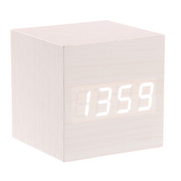 Wholesale Mini Clock Temperature - Wholesale-008-12 Mini Cube Shaped Voice Activated White LED Digital Wood Wooden Alarm Clock with Date  Temperature (Ivory)