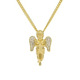 Wholesale crystal pave link necklace - Gold 3D Baby Angel Cherub CZ Pave Wing Pendant with Round Box Link Chain Hip Hop Rapper's Pendant Necklace