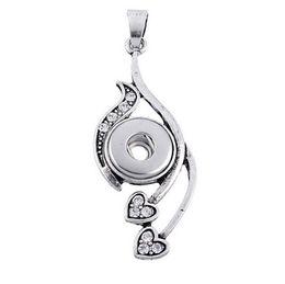 Wholesale Mini Heart Necklaces - 6PC Snap Pendant Fit Snap Mini Button Heart Carve White Rhinestone 5.1x1.8cm For Jewelry Diy Making