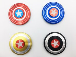 Wholesale DHL Super Heroes Fidget Spinner America Captain Shield Marvel Finger hand Spinners AL Alloy Metal Toy Tri decompression toys Puzzle beyblade