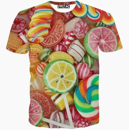 Wholesale Cotton Candy Sugars - Sweet candy T shirt Colorful sugar short sleeve gown Cool pattern tees Street printing clothing Unisex cotton Tshirt