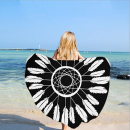 Wholesale Girls Beach Cover - Beach Towel Printed Mat Beach Blankets Bath Towels Women Girls Yoga Mat Sunbath Wrap Serviette Covers Printed Round Microfiber