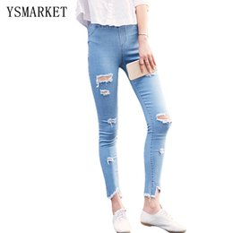 Wholesale Womens Size Capris - New 2017 Female Fashion Casual Jeans Large Size XL XXL Womens Vintage Sexy Hollow Out Hole Denim Pencil Pants 1637 hot sale
