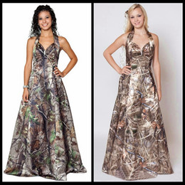 Wholesale Max Camouflage - Muddy Girl Realtree max-4 Wetland Camo Prom Dresses 2017 Halter Camouflage Bridal Gowns vestido de noiva Custom Make