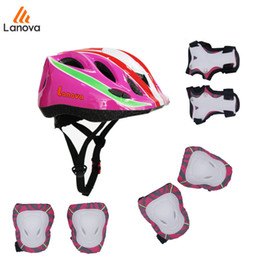 Wholesale Kids Skating Pads - LANOVA 7 pcs set Skateboard Protective Gear Sets Elbow pads Knee Protector Wristguard Bicycle Helmet Ice Skating Roller For Kid