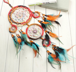 Canada Indian Caught Dream Dream Catcher 5-Cicle Turquoise Beaded Wind Chimes Plume Pendentifs Wall Hanging Ornament Craft Gratuit DHL B949L Offre