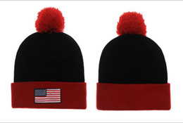 Wholesale Custom Winter Beanies - American Flag USA Beanie With pom pom Beanies Hip Hop Snapback Hats Custom Knitted Cap Snapbacks Popular hat cap Mix Order