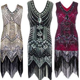 Wholesale Sequin Striped Dress - 1920s Great Gatsby Dress Sequin Beading V Neck Tassel Flapper Dress Black Party Long Summer Dress Vestido Longo De Festa