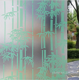 """Wholesale Window Privacy Film - 45*200cm 17.7""""*78.8"""" Home Decor Opaque Privacy Self-adhesive Glass Window Film PVC Frosted Window Stickers Bamboo Pattern"""
