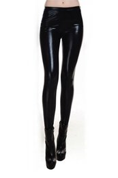 Wholesale Wet Look Black Pants - Wholesale- Metallic Wet Look Liquid Leggings Shiny Stretch Women Pencil Pants(black)