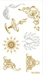 Wholesale Tattoo Flash Hot - Wholesale- 10.5x6cm HC-5029 Hot Fashion Women Men Jewelry Metallic Gold Silver Temporary Tattoos Jewelry Flash Body Bling Stickers