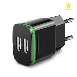 Wholesale ipad usb lead - Dual USB Wall Charger US EU Plug 5V 2.1A AC Power Adapter Charger Plug with LED Light 2 Ports for Samsung iPad