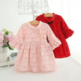 Wholesale Toddler Girls Chinese Dress - Baby girls princess dress 2017 new infants lace hollow out pleated dress autumn toddler kids flare sleeve Chinese style elegant dress C1009