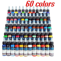 Wholesale tattoo kit shipping - Wholesale New Tattoo Ink Fusion 60 Colors Set 1 oz 30ml Bottle Tattoo Pigment Kit Free Shipping