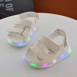 Wholesale Cheap Beach Shoes - eur 15-30 child boys girls sport light up led slip-resistant children baby sport shoes kids dance cheap beach leather sandals 11.5-18 cm