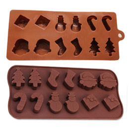 Wholesale Christmas Tree Silicone Mould - Silicone Cake Molds Silicone Molds Snowman Christmas Tree Wand Socks Brown Chocolate Molds Baking Tools 0702107