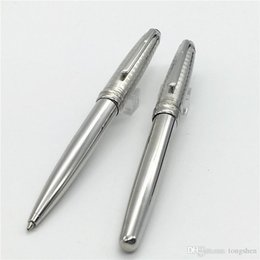 Wholesale Novelty Office Stationery - Free Shipping - High quality Novelty silver metal ballpoint pen with silver clip Stationery MT 163 roller ball pen