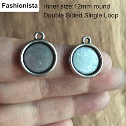 Wholesale 12mm Silver Pendant Trays - 100 pcs Antique Silver DOUBLE SIDED Cabochon Base Settings,Inside 12mm Blank Pendant Tray For Jewelry Crafts DIY