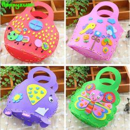 Wholesale Handbag Craft Kids - Happyxuan 5pcs lot Kids DIY Cartoon Handbag EVA Bag Crafts Kits Handmade Butterfly Owl Cute Kindergarten Toys Education Children