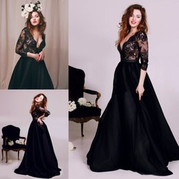 Wholesale Long Formal Lace Dresse - Hot Sexy Deep V-neck A-line Long Prom Dresse 3 4 Sleeve Black Formal Prom Gowns Robe De Bal Party Dresses Evening Dresses