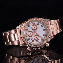 Wholesale crystal clocks - New Fashion brand Ladies rose gold watch aaa Crystal watches womens Automatic date White Rhinestone alloy dial Stainless steel quartz clock