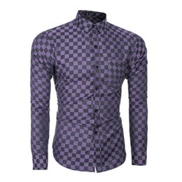 Wholesale mandarin collar shirts wholesale - Wholesale- 2016 men product selling business and leisure fashion small grid work plaid shirt long sleeve shirt,Blue, and purple, and brown