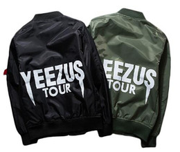 Wholesale Military Style Black Jacket Men - Kanye West Tour Bomber Men Jacket Windproof Air Force MA-1 Pilot Jacket Coat Thin Style Military Jacket size S-XXXL