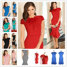 Wholesale womens size small - 2017 New Womens Winter Patchwork Mature Stylish Casual Work Full Sleeve Small V-Neck Bodycon Women Office Pencil Slim Dress Size S-2XL