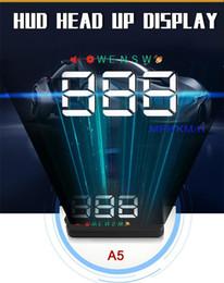 "Wholesale Mini Led Screen Display - Mini Universal Multi-color LED Screen 3.5"" HD Car A5 HUD Head Up Display Plug & Play KM h MPH Speed Compass Speed Alarm"