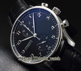 Wholesale Hot Red Strap Luxury Quartz - Hot Sell Super Clone Luxury Brand Portugieser 47 Black Dial Quartz Chronograph Mens Watch Leather Strap Cheap New Watches