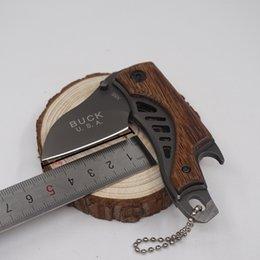 Wholesale Buck Titanium - Mini Buck Knife X65 Titanium Pocket Folding Knife Wood Handle Bottle Opener Screwdriver Hunting Tools Survival Tactical Knives