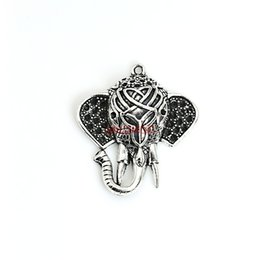 Wholesale Crafts Jewelry Elephants - Wholesale-5pcs Tibetan Silver Plated Zinc Alloy Elephant Head Charms Pendants for Jewelry Making DIY Handmade Craft 35x32mm C206