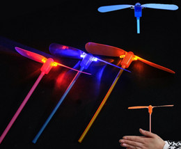 Wholesale Bamboo Dragonfly - Free Shipping 2 leaf Led Lighted Flying Bamboo Dragonfly Helicopter Boomerang Frisbee Flash Children Kids Boys Toys Christmas gift
