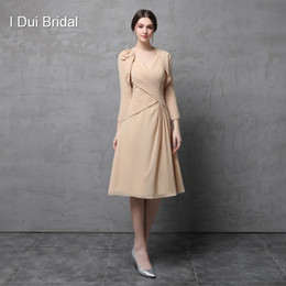 Wholesale V Neck Wedding Jacket - Two Piece Mother of the Bride Dress with Jacket Chiffon A line V Neck Knee Length Wedding Mother Dress