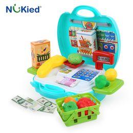Wholesale Shop Kits - NUKied Children Shopping Pretend Play Toys Set Mini Supermarket Cash Register Basket With Vegatable Protable Kits Baby Gift