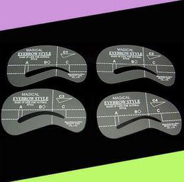 Wholesale Magic Dash - 4pcs Styles Magic Eyebrow Stencil Set Grooming Drawing Card For Dashing Eyebrows Eye Brow Shape Template Make Up Tool C1-C4 ZA1726