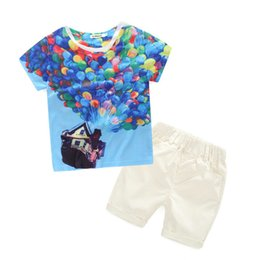Wholesale Ballons Blue - Casual Outfits for Baby Boy Cotton Short Sleeved Ballons Printing Pullover Tshirt White Elastic Belt Shorts Suit