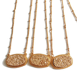 Wholesale Copper Necklace Chain Bulk - Kendra Style Pendant Necklace Gold Chain Copper Metal Faux Stone Oval Resin Druzy Pendant for Women Christmas Gift Bulk Price