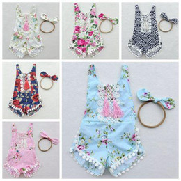 Wholesale Headband European - 2017 summer floral fringe toddler girls rompers set cotton lace baby romper + headband flower print jumpsuits newborn onesies infant clothes