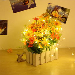 Wholesale Wholesale Wedding Rice - LED Copper Wire String Lights CR2032 Button Cell Battery Rice String Light 2M 20LED Fairy Light for Christmas Wedding Decoration