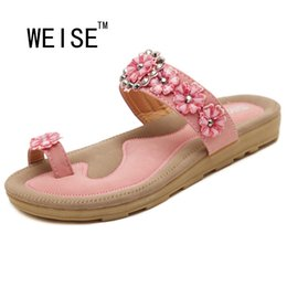 Wholesale Rhinestones Flower Flip Flops - Wholesale-WEISE 2016 New Sweet Bohemian Flower Women Sandals Flat With Shoes Rhinestone Fashion Flip Flops Large Size Casual Shoes 35-41