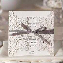 Wholesale Laser Cut Cards - Laser Cut Wedding Invitations Cheap Ivory Hollow Flower Bow Free Personalized Printing Wedding Invitations Cards Sets Wedding Accessories