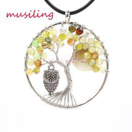 Wholesale green opal necklace - Pendants Natural Gem Stone Tree of Life Owl Reiki Pendulum Charms Accessories Opal Lapis Lazuli Crystal etc Stone Amulet Fashion Jewelry