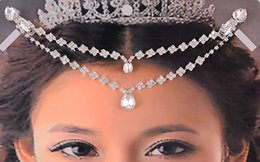 Wholesale Crystal Hair Clip Cheap - Glittering Bohemian Bridal Hair Accessories Handcrafted Crystal Bridal Headpiece Cheap Boho Wedding Hairpiece Jewelry Forehead Crown