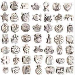 Bracelet making supplies online-Für Schmuckherstellung Großes Loch Lose Spacer Perlen Charms DIY Handwerk Großhandel Günstige Schmuckherstellung Lieferungen Für Armband Charms