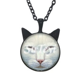 Wholesale Cat Face Necklace - 2016 New Cat Face Pendant Necklace Cat Ear Cat Face Girls Jewelry Glass Necklace Cabochon Necklace for kid gift