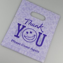 """Wholesale Thank Wedding Gifts Wholesale - Wholesale- Wholesale 20x25cm 100 Pieces Purple """"Thank You"""" Design Plastic Shopping Bags Favor Wedding Gift Packaging Plastic Bags"""