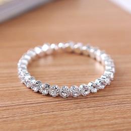Wholesale Wholesale Row Ring - 12 pieces Lot 1 Row Elegant Crystal Rhinestone Stretch Bracelet Bangle Wedding Bridal Accessories Wholesale Jewelry for Women